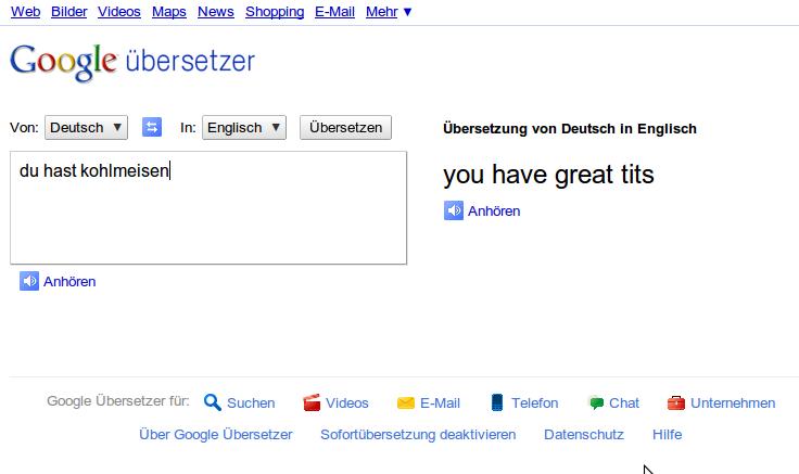 "google translate ""bug"" du hast kohlmeisen"